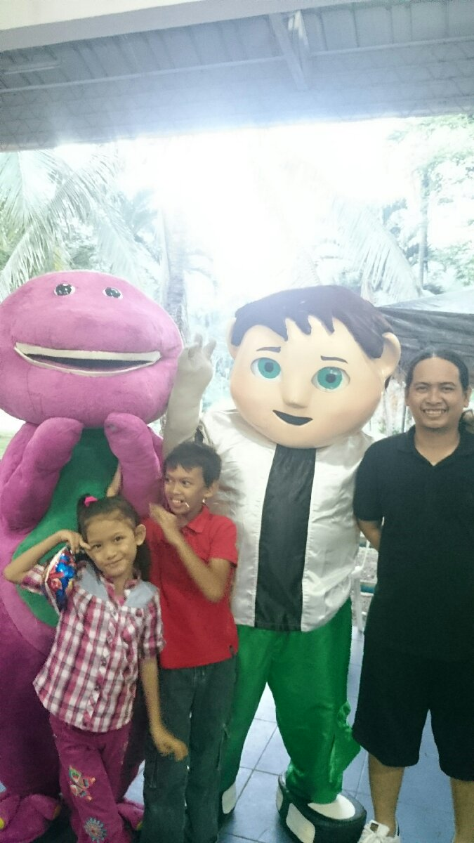 With barney and ben10, Children's party