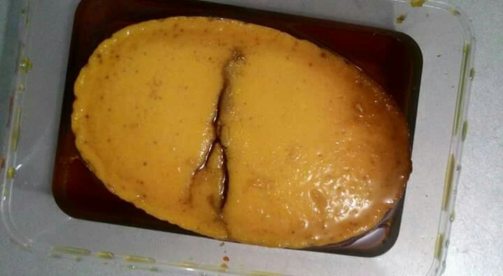 leche flan in a cold and rainy morning