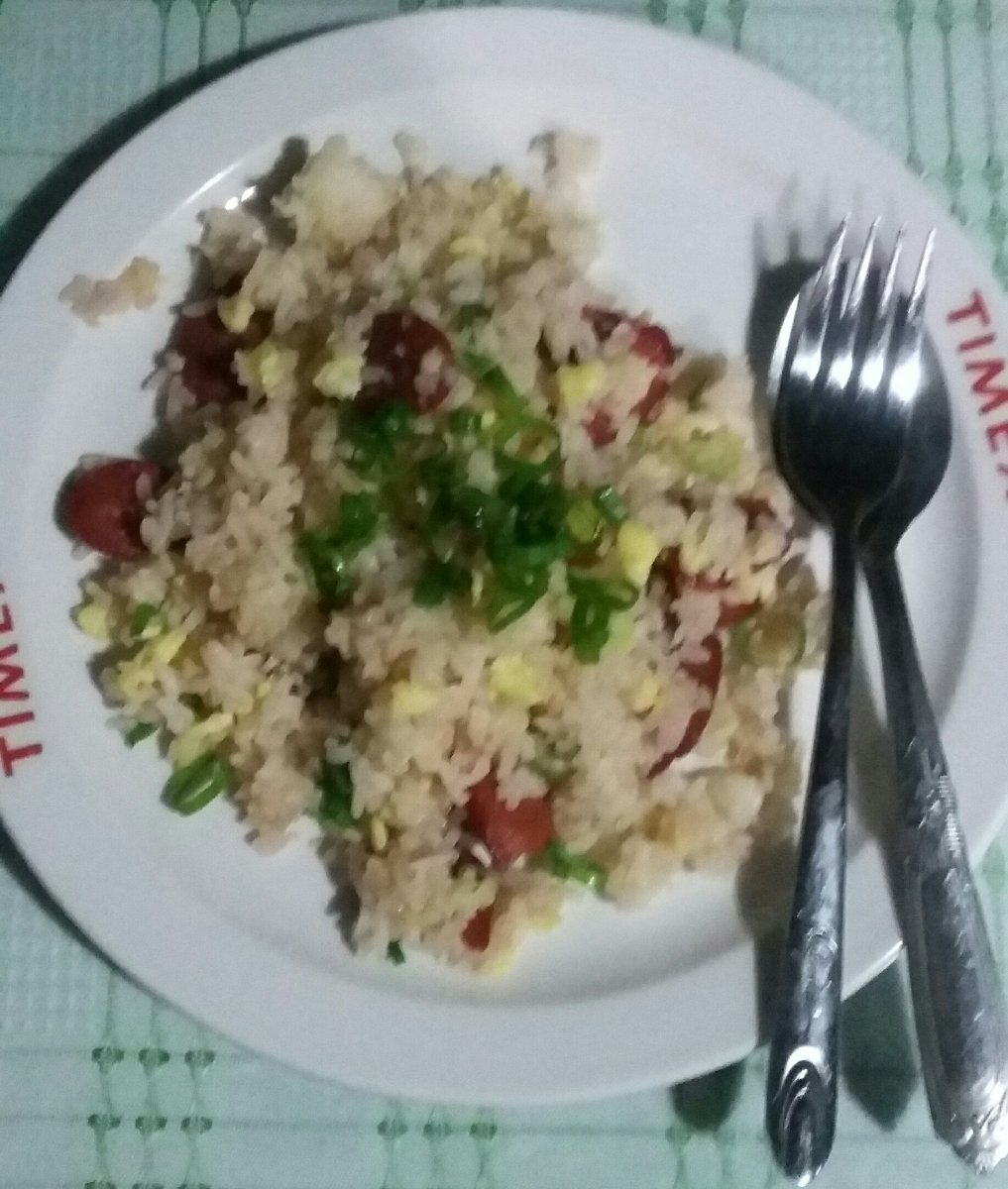 Specialty for my brother, fried rice with green onions