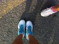 running shoes white and skyblue jogging time