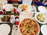 pizza, fried chicken, fries, sandwich, vegetable salad, perfect, snacks, yummy, delicious, mouth watering, over satisfied, blessed