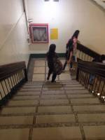 at, usjr, stairs, friends, walking