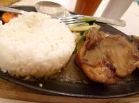 Sizzling pork chop for breakfast. #OrangeBrutos