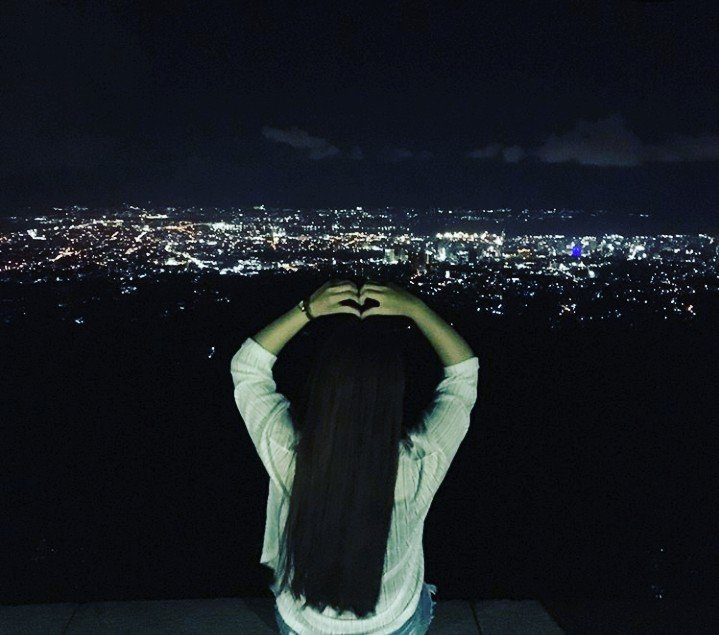 Overlooking the city city lights perfect night just love