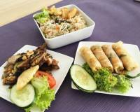 Lemongrass and pineapple marinated grilled chicken spring rolls and veggie rice Now how to finish these