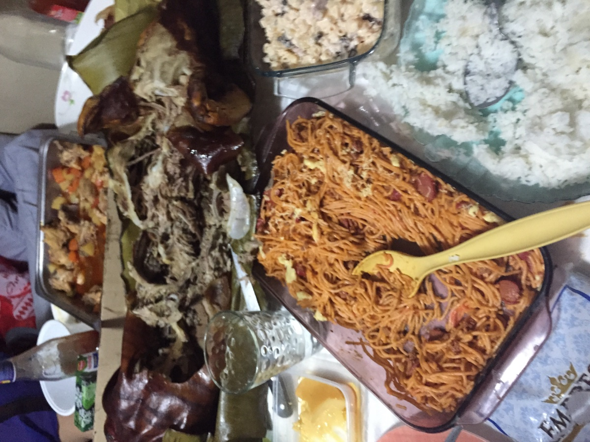 Celebration, food, lechon, spaghetti