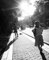Streetphotography,  girl heading to school