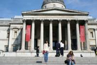 What a lovely day to tour around London, National Gallery, Trafalgar Square, London, UK