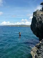 Jump shot, 20 feet high, Buho Rock Resort, Camotes Island