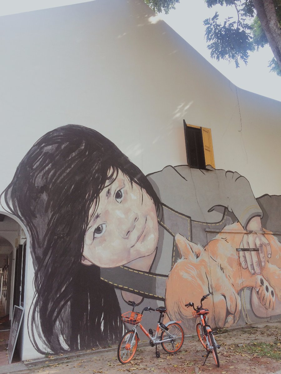 singapore, vacation, painting, mural, art, expression, bike, girl, artist