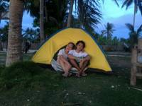 with my mom, tent, beach, province, fresh air, weekend, peace
