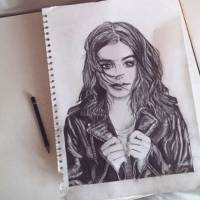 Drawing, lily, Collins, pencil, celebrity