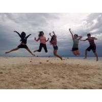 friends, workmates, ojts, moalboal, beach, jumpshot, amazing, fun